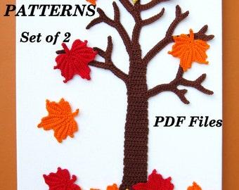 CROCHET PATTERNS - Set of 2, Wall Art, Maple Tree, Fall, Autumn, Maple Leaves