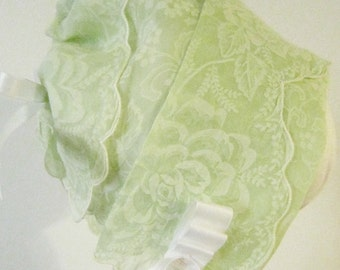 SALE!! Green Handkerchief Bonnet