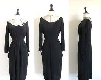 Vintage 40s Black Evening Dress, Old Hollywood Rayon Frock