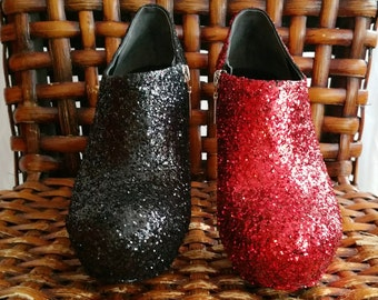 SALE Harley Quinn Inspired Red and Black Glitter Booties US Size 8