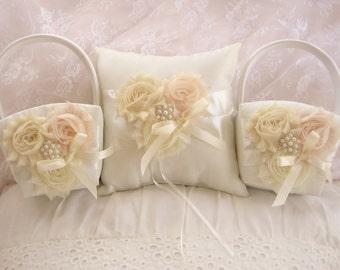 Two Flower Girl Baskets and Pillow -  Blush Rose Blossom Ivory Ring Bearer Pillow, Flower Girl Basket Vintage CUSTOM COLORS