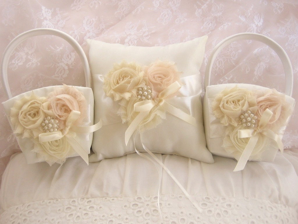 Flower Girl Basket Blush : Two flower girl baskets and pillow blush rose blossom ivory