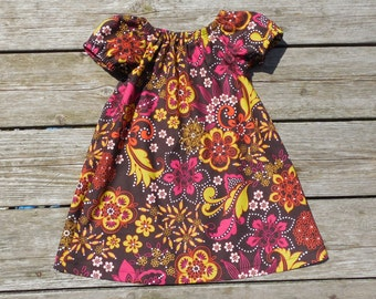 Fall Girl's Infants Toddlers Brown Green and Pink Floral Peasant Dress