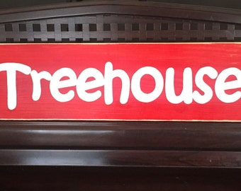 TREEHOUSE Wooden Sign Plaque Rustic Cottage Chic You Pick Color Hand Painted Kids Outdoor Play Fort