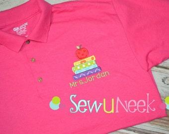 Teacher Polo Shirt Applique Stacked Books