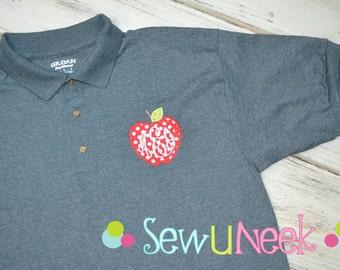 Teacher Polo Shirt Applique Apple