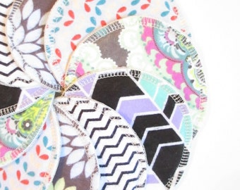 Cloth Nursing Pads--5 Pairs--Modern Print Mix--Fleece/ZorbII/Flannel--Ready to Ship