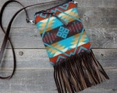 North by Northwest Fringed Crossbody Satchel // Turquoise Pendleton Wool and Brown Leather // Rosebud Originals