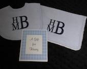 Personalized Bib Burp  Baby Gift  Set Blue  or Pink Gingham Seersucker