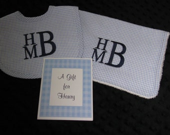 Perfect Personalized Bib Burp Set --   Baby Gift  Set  --  Blue  or Pink Gingham Seersucker - Great for Twins