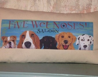 Five Wet Noses Saloon Dog pillow