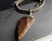 Men's Arrowhead Necklace:  Ombre Khaki Tan Macrame Cord Unisex Jewelry, Brown Agate Stone Necklace