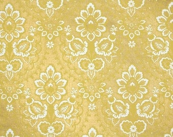 Retro Wallpaper by the Yard 70s Vintage Wallpaper – 1970s Gold and White Damask