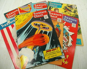 Vintage Treasure Chest of Fun & Fact Comic Books Collection Set of 8 - Retro Children's Comic Books with Historical Facts Collection of 8