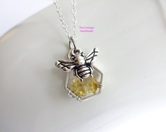 Honey Bee on the Hive Necklace... Sterling Silver Chain... Choices for Free Form Gemstone Chips