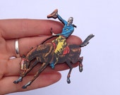 Blue Shirt Cowboy Horse Country Western Rodeo Buckaroo Wooden Brooch Pin Gift Laser Cut