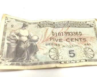 5 cents Military Payment Certificate, series 481 Inv LB1