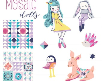 CLIP ART  - Mosaic Dolls Set - for commercial and personal use