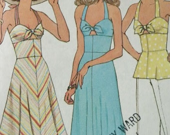 Vintage 1976 Simplicity Boho Bias Halter Dress or Top Bodice Tied in Front 7479 Sewing Pattern Size 7 & 9 Junior Petite