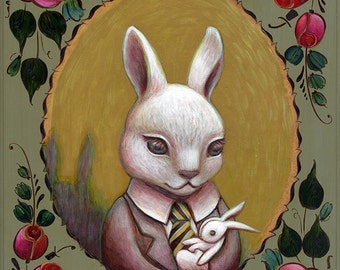 Baby Bunny portrait - White Rabbit - nursery fairytale/storybook wall art