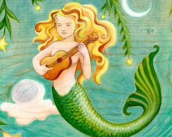 Mermaid playing ukulele art print - teal, turquoise, and gold wall art