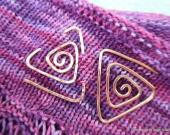 mini-Spiral Shawl Pin or bookmark, copper triangle