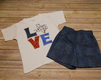 Designer Kids Clothes, Size 4T, Boy's Tee & Short Set, LOVE Texas, Patriotic, Memorial Day, July 4th, Veteran's Day, State of Texas