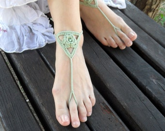 Olive Yoga Shoes Crochet Cotton Barefoot Sandals Bridal Toe Shoes Foot Jewelry Wedding Beach Sandals  Bridal Nude Shoes - SC0012H