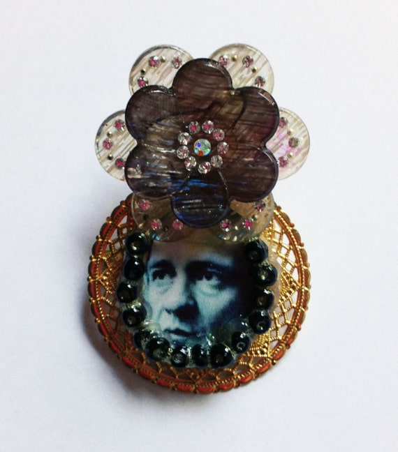 Johnny Cash Brooch with Flower Headdress