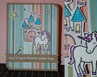May all your dreams come true, unicorn,  4 1/4 inch  x 5 1/2 inch handmade greeting card