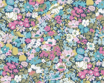 "New 2016 colour! - Liberty Tana Lawn fabric THORPE - 17"" wide x 13"" (43cm x 33cm) - pink, blue, green"