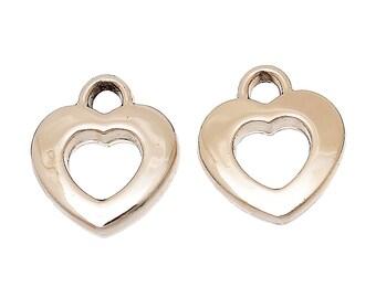 10 OPEN HEART Charm Pendants, gold plated metal, 16x14mm, chg0288