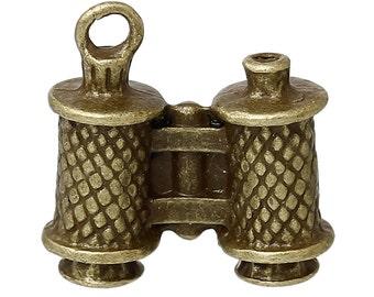 5 Bronze Tone Binoculars Charm Pendants    CHB0396