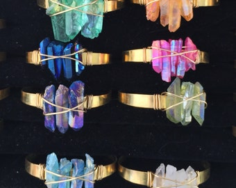 The Power of Three Quartz Cuff Bracelet Boho Brass Festival Fashion Coachella sxsw choose your color