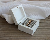 Ring Bearer Box / White Wooden Box / Rustic Wedding Ring Box / Proposal Ring Box / Shabby Chic Box
