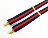 Vintage PELICAN NAVY BLUE w Red Stripe Suspenders / Braces / Elastic Straps-Brass Accents / Christmas - Father's Day Gift  For Men or Women