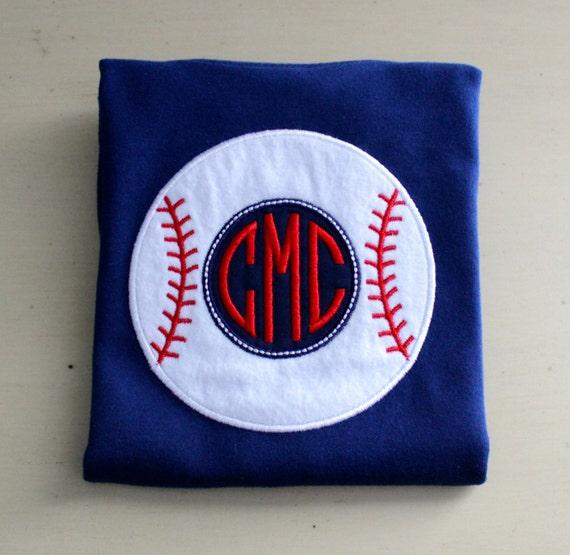 Custom Monogrammed Baseball Applique T Shirt Or Onesie