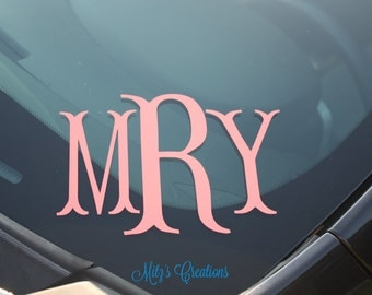 Fishtail Monogram - Great for your car - Pick Your Colors - Personalize to your liking - Many Colors to Pick From