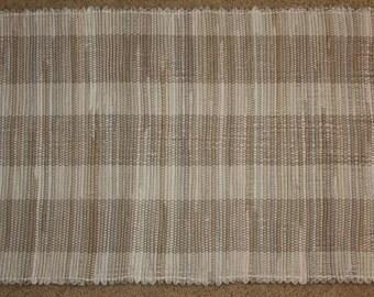 Handwoven Rag Rug - Khaki Mix - taupe, tan, light brown - 45 inches....(#109, 109A)