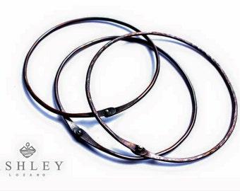 riveted bangle - copper bangle - copper bracelet - sterling rivet - copper and sterling - stacking bracelets - stacking bangles