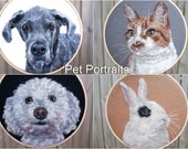 "AUGUST Shipment - Custom Pet Portrait Wool Painting Hoop - EXTRA LARGE 8"" Hoop"