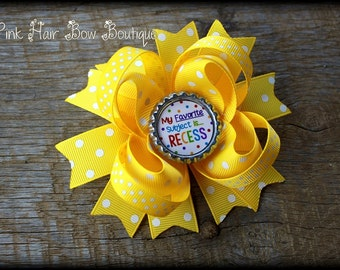 Yellow Back to School hair bow - Stacked boutique Hair bow - 4.5 inch hair bow - First Day of school hair bow , Yellow bow