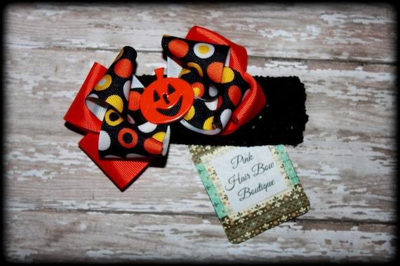 Halloween hair bow headband, Pumpkin Hair Bow , Halloween Headband , Halloween Hair Bow, Baby's First Halloween