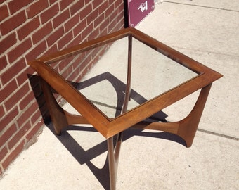 Mid Century Lane Walnut and Glass End Table