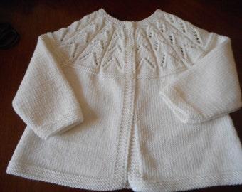 Baby Italian Merino Hand Knit Vintage Style Baby Matinee Jacket / Sweater  0 - 6 months