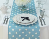 Blue Table Runner - Blue Wedding Linens - Blue Table Topper - Polka Dots Light Blue Table Runner