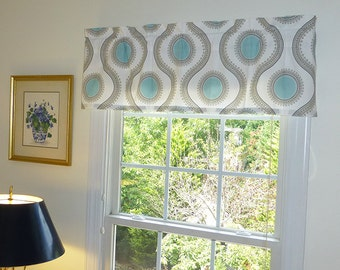 Beige Window Valance - Window Valance - 52 x 16 Valance - Window Treatment - Susette Beige Aqua Window Valance with Ruffled Top