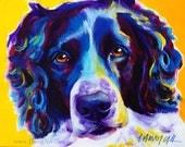 Springer Spaniel, Pet Portrait, DawgArt, Dog Art, Springer Spaniel Art, Original Painting, Springer Spaniel Painting, Colorful Dog Art