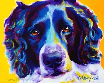 Springer Spaniel, Pet Portrait, DawgArt, Dog Art, Springer Spaniel Art, Original Painting, Springer Spaniel Painting, Colorful Dog Art