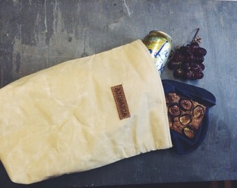 Waxed canvas insulated lunch sack